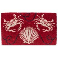 """Entryways Sand Crabs 18"""" x 30"""" Coir Door Mat in Red/White"""