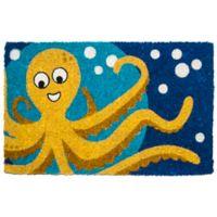 """Entryways Octopus 18"""" x 30"""" Coir Door Mat in Blue"""