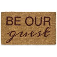 "Entryways Be Our Guest 18"" x 30"" Coir Door Mat in Burgundy"