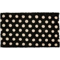 "Entryways Polka Dots 18"" x 30"" Coir Door Mat in Black/White"