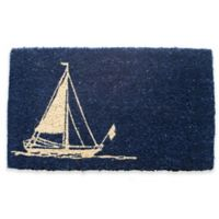 "Entryways Sailboat 18"" x 30"" Coir Door Mat in Blue"