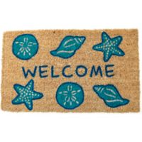 "Entryways Shells Welcome 18"" x 30"" Coir Door Mat in Blue"