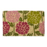 """Entryways Dahlias 18"""" x 30"""" Coir Door Mat in Pink/Green"""
