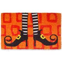 "Entryways Wicked Witch's Shoes 18"" x 30"" Coir Multicolor Door Mat"