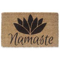"""Entryways Namaste 18"""" x 30"""" Coir Door Mat in Black"""