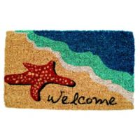 "Entryways Starfish Welcome 18"" x 30"" Coir Multicolor Door Mat"