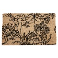 "Entryways Ink Bouquet 18"" x 30"" Coir Door Mat in Black"