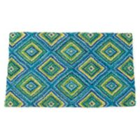 "Entryways Summer Geometric 18"" x 30"" Coir Door Mat in Blue/Green"
