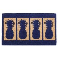 "Entryways 4 Pineapples 18"" x 30"" Coir Door Mat in Blue"