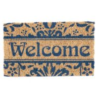 "Entryways Damask Welcome 18"" x 30"" Coir Door Mat in Blue"