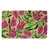 "Entryways Blushing Tulips 18"" x 30"" Coir Door Mat in Pink/Green"
