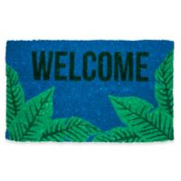 "Entryways Palms Welcome 18"" x 30"" Coir Door Mat in Blue/Green"