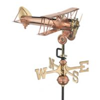 Good Directions Biplane Garden Weathervane with Pole in Polished Copper