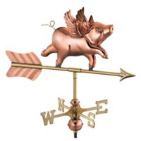 Good Directions Flying Pig Cottage Weathervane with Roof Mount in Polished Copper