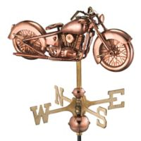 Good Directions Motorcycle Garden Weathervane with Pole in Polished Copper