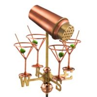 Good Directions Martini with Glasses Cottage Weathervane in Polished Copper