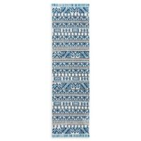 Nourison Kamala 7'6 Runner in Ivory/Blue