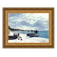 """Beach at Sainte-Adresse"" 17.25-Inch x 14.75-Inch Framed Canvas Replica Wall Art"