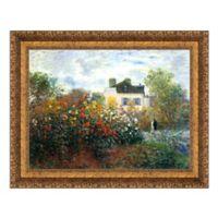 Garden at Argenteuil-The Dahlias 37-Inch x 29-Inch Framed Canvas Replica Wall Art