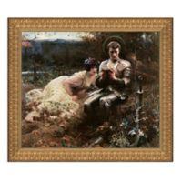 """Temptation of Sir Percival"" 28.5-Inch x 25-Inch Framed Canvas Replica Wall Art"