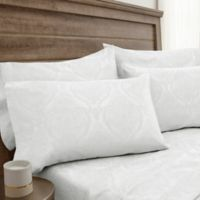 Jacquard Damask 800-Thread-Count Queen Sheet Set in White