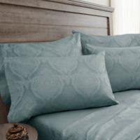Jacquard Damask 800-Thread-Count Full Sheet Set in Blue Haze
