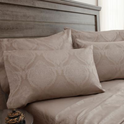 Jacquard Damask 800 Thread Count Queen Sheet Set In Tan