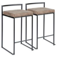 Lumisource™ Upholstered Barstools in Brown/black (Set of 2)