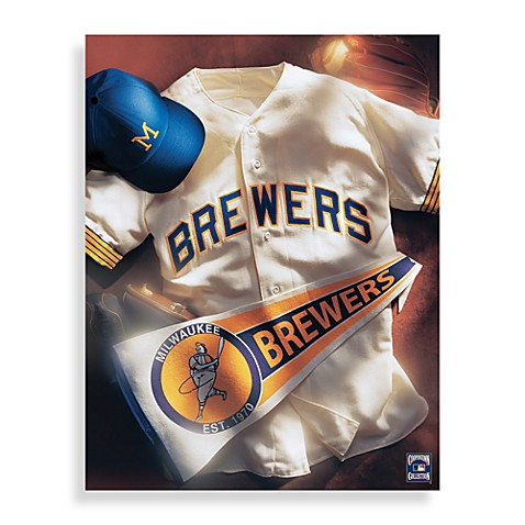 MLB Milwaukee Brewers Vintage Collage Canvas Wall Art