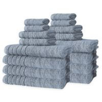 Barnum Turkish Cotton 16-Piece Towel Set in Blue