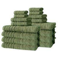 Barnum Turkish Cotton 16-Piece Towel Set in Green