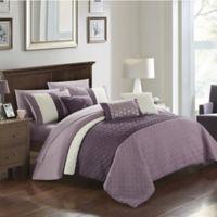 Chic Home Shai 10-Piece Queen Comforter Set in Plum