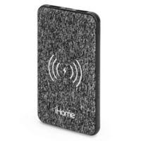 iHome® 10K mAh Qi Wireless Fabric Power Bank in Black