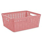 Starplast Medium Plastic Wicker Storage Basket in Rose