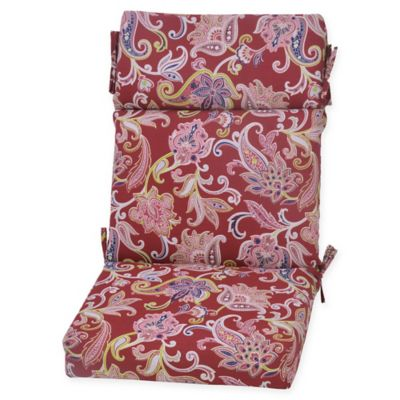 Jacobean Outdoor High Back Chair Cushion In Berry