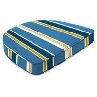 Jordan Manufacturing Heatwave Stripe Outdoor Contoured Boxed Seat Cushion in Cobalt