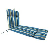 Stripe Outdoor French Edge Chaise Lounge Cushion in Cobalt