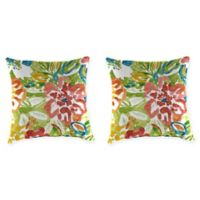 Jordan Manufacturing Floral Print 20-Inch Square Throw Pillows in Sunriver Garden (Set of 2)