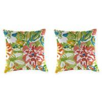 Jordan Manufacturing Print 18-Inch Square Throw Pillows in Sunriver Garden (Set of 2)