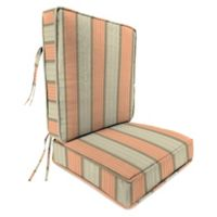 Stripe Outdoor 2-Piece Deep Seat Chair Cushion in Sunbrella® Cove Cameo