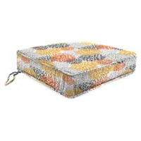 Jordan Manufacturing Blooms Citrus 22.5-Inch Boxed Edge Seat Cushion