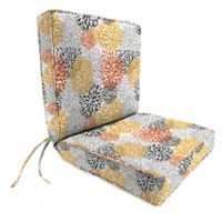 Jordan Manufacturing Blooms Citrus Boxed Edge Dining Chair Cushion