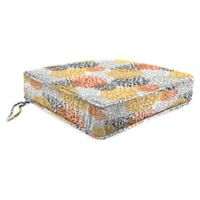 Jordan Manufacturing Blooms Citrus Tapered Boxed Edge Seat Cushion