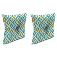 Tropez 16-Inch Square Welt Throw Pillows in Turquoise (Set of 2)