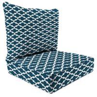 "Jordan Manufacturing Fulton 2-Piece Outdoor 46"" Deep Seat Chair Cushion in Blue"