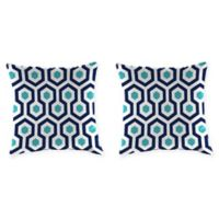 "Jordan Manufacturing Magna Oxford Outdoor 18"" Square Throw Pillows in Blue (Set of 2)"