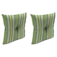 Stripe Outdoor 16-Inch Square Throw Pillows in Sunbrella® Foster Surfside (Set of 2)