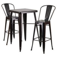 Flash Furniture 3-Piece 27.75-Inch Square Metal Bar Table and Chairs Set in Black/Gold