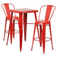 Flash Furniture 3-Piece 27.75-Inch Square Metal Bar Table and Chairs Set in Red