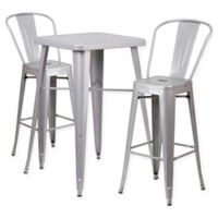 Flash Furniture 3-Piece 27.75-Inch Square Metal Bar Table and Chairs Set in Silver